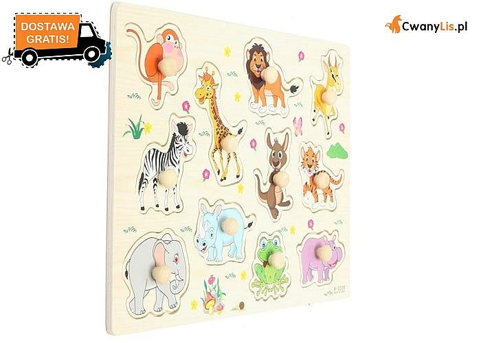 Drewniana układanka ze zwierzątkami