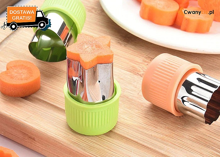 Wykrojniki do warzyw i owoców! Idealne do przygotowywania posiłków dla dzieci! 3 wzory do wyboru, 3 sztuki w zestawie!